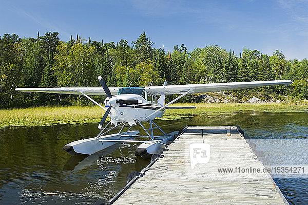 Float plane dock  Lake of the Woods near Nestor Falls  Northwestern Ontario; Ontario  Canada