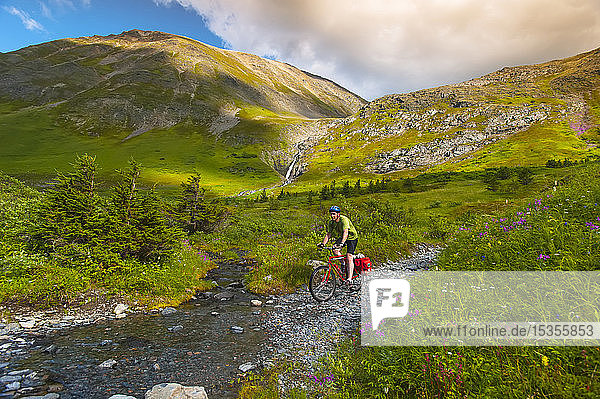 A man riding his mountain bike on the Palmer Valley Road near Hope  Alaska on a sunny summer day in South-central Alaska; Alaska  United States of America