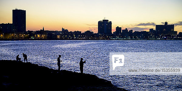 Silhouettes of fishermen along the Malecon with a silhouetted skyline at dusk; Havana  Cuba