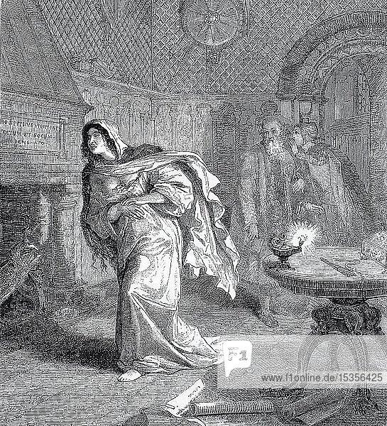 Die Tragödie von Macbeth  Lady Macbeth  von Shakespeare  die Tragödie von Lady McBeth  1855  historischer Holzschnitt  England