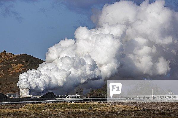 Rauchsäule  Kraftwerk Sudurnes  Geothermalgebiet Gunnuhver  Halbinsel Reykjanes  nahe Reykjavik  Island  Europa
