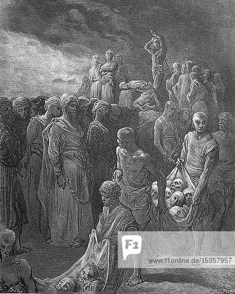 Hinrichtung der Gefangenen im dritten Kreuzzug  1880  historischer Holzschnitt  Deutschland  Europa