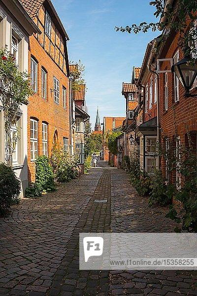 Historische Bürgerhäuser in der Straße Auf dem Meere  Altstadt  im Hintergrund St. Nicolai Kirche  Hansestadt Lüneburg  Niedersachsen  Deutschland  Europa