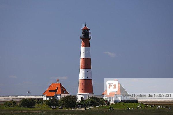 Leuchtturm Westerheversand  Nationalpark Schleswig-Holsteinisches Wattenmeer  Westerhever  Halbinsel Eiderstedt  Nordfriesland  Schleswig-Holstein  Deutschland  Europa