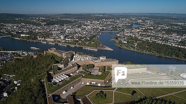 Aerial view  Koblenz Fortress Ehrenbreitstein and the German Eck at the confluence of the Rhine and Moselle  Koblenz  Rhineland-Palatinate  Germany  Europe