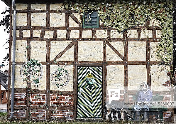 Kunstvoll  lustig bemaltes Häuschen  Wolgast  Mecklenburg-Vorpommern  Deutschland  Europa