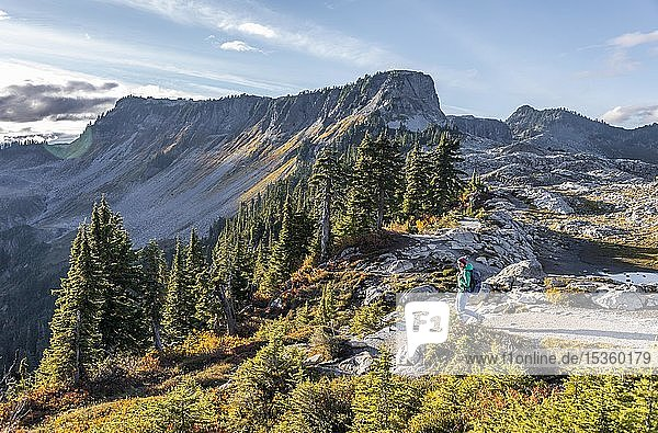 Wanderin auf Wanderweg am Artist Point  Berglandschaft im Herbst  hinten Tafelberg Tabletop Mountain  Mount Baker-Snoqualmie National Forest  Washington  USA  Nordamerika