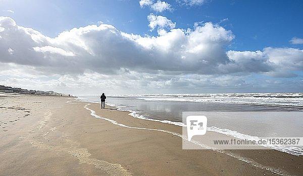 Junger Mann läuft an Strand  Nordsee  Zandvoort aan Zee  Nordholland  Holland  Niederlande  Europa