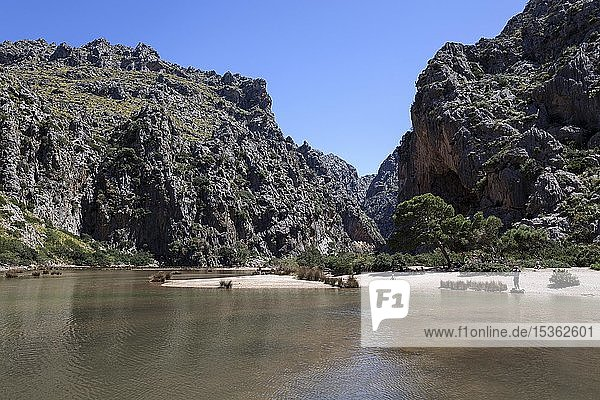 Schlucht Torrent de Pareis  Cala de Sa Calobra  Serra de Tramuntana  Mallorca  Balearen  Spanien  Europa