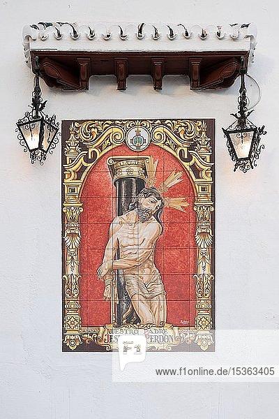 Christus mit Dornenkrone  Kachelbild  Granada  Andalusien  Spanien  Europa