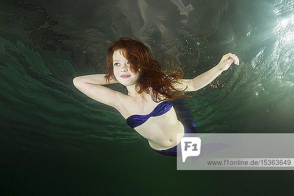 Junges Mädchen  rothaarige Meerjungfrau taucht unter Wasser  Ukraine  Europa