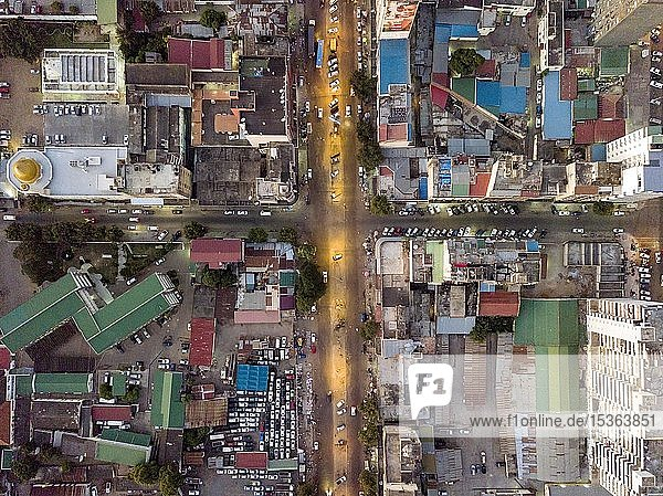 Aerial view  streets of Maputo  Mozambique  Africa