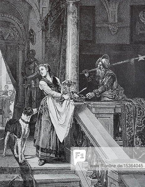 Der wachhabende Hellebardier bekommt von der Aufwärterin die Reste was die Herren bei Tisch übrig gelassen haben  1880  historischer Holzschnitt  Deutschland  Europa