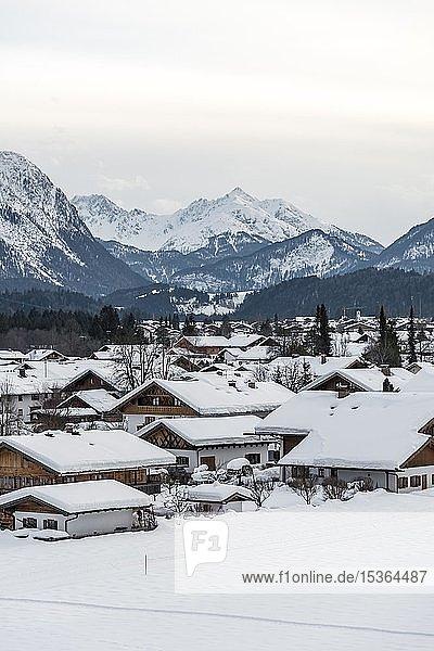 Verschneite Häuser im Winter  hinten Berge  Wallgau  Oberbayern  Bayern  Deutschland  Europa