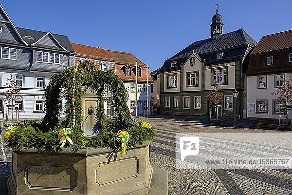 Rathaus  Marktplatz  Bad Blankenburg  Thüringer Wald  Thüringen  Deutschland  Europa