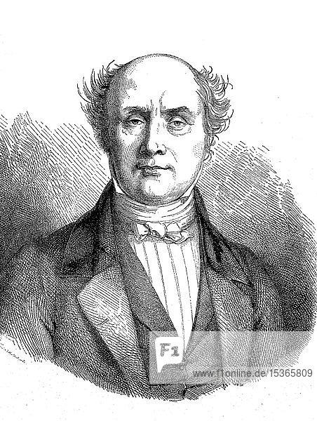 Baron Charles Athanase Walckenae  1771-1852  ein französischer Beamter und Wissenschaftler  Charles Athanase Walckenae  1855  historischer Holzschnitt  Frankreich  Europa