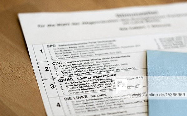 Ballot papers  postal vote  CDU  Greens  Germany  Europe