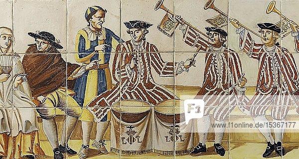 Musiker Szene  Paukenspieler und Tropeter  Valencianische Fliesen aus dem 18. Jh.  Palau del Marqués de Dosaigües  Valencia  Spanien  Europa