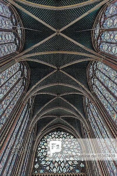 Gewölbe  Innenansicht  Oberkapelle  Sainte-Chapelle Île de la Cité  Paris  Frankreich  Europa