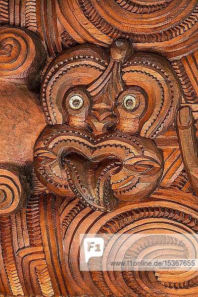 Figur  Gesicht  traditionelle Schnitzerei der Maori in der Versammlungshalle Te Whare Runanga  Waitangi  Far North District  Northland  Nordinsel  Neuseeland  Ozeanien