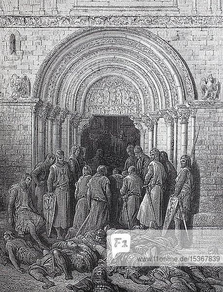 Das Te Deum  auch bekannt als Ambrosian Hymnus oder A Song of the Church  eine frühchristliche Hymne des Lobpreises nach dem Sieg der Kreuzritter  Erster Kreuzzug  historische Darstellung  1880  Deutschland  Europa