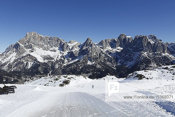 Skifahrer auf Skiabfahrt  Skigebiet  San Martino di Castrozza  Trentino  Italien  Europa