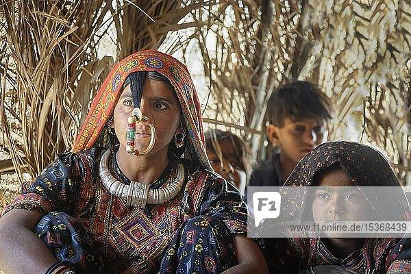 Dhaneta Jat woman wearing the Nathli gold nose ring  Madhari group  Great Rann of Kutch  Gujarat  India  Asia