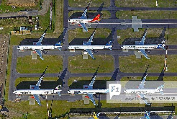 Mehrere Flugzeuge  Airbus A320  verschiedene Fluggesellschaften  Hamburg  Deutschland  Europa