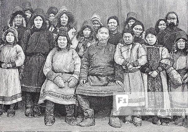 Gruppe von Nanai-Völkern  auch Golds  Goldes  Goldi  Heje und Samagir  1879  historischer Holzschnitt  Russland  Europa