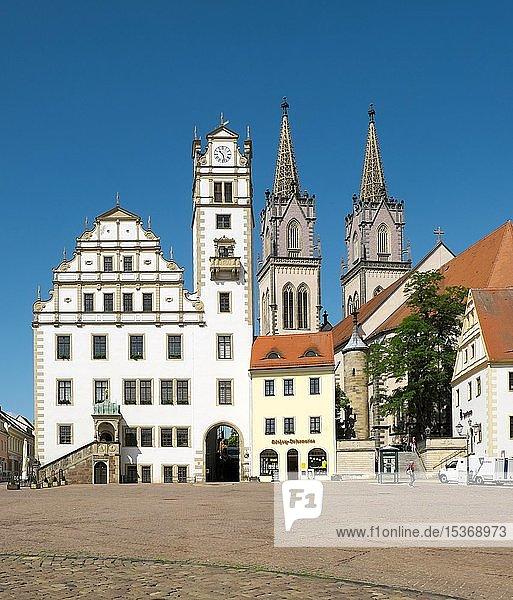 Rathaus  Kirche St. Aegidien  Neumarkt  Oschatz  Sachsen  Deutschland  Europa