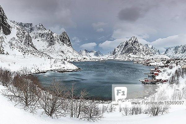 Blick auf Reine mit Reinefjord  hinten verschneite Berge  Olstinden  Moskenesøya  Lofoten  Norwegen  Europa