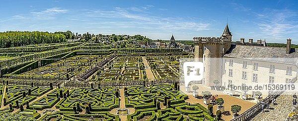 Chateau de Villandry und Gärten  Departement Indre-et-Loire  Centre-Val de Loire  Frankreich  Europa