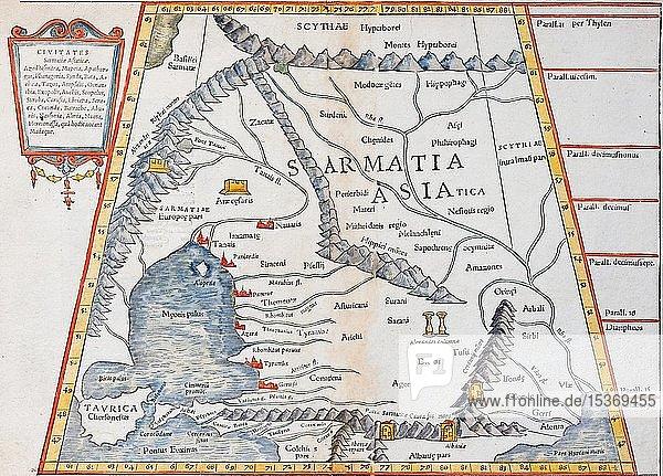 Russland  Ukraine  Krim und nördlicher Kaukasus  Handkolorierter Holzschnitt von Sebastian Münster  Basel 1550  Schweiz  Europa