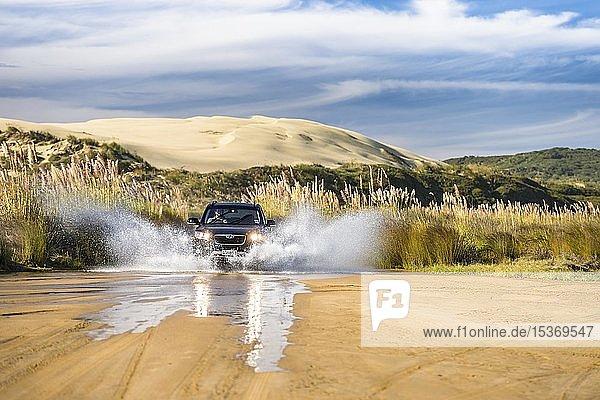 Schwarzer Hyundai Santa Fee 4x4 Geländewagen fährt durch ein Bachbett auf Zufahrt zum Ninety Mile Beach mit Sanddüne dahinter  Far North District  Northland  Nordinsel  Neuseeland  Ozeanien