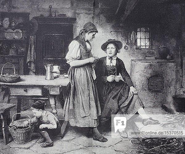 Zwei Bäuerinnen  Freundinnen  1880  historischer Holzschnitt  Deutschland  Europa