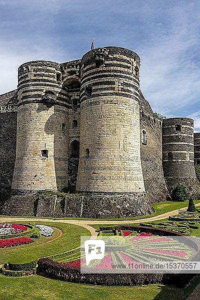 Türme der königlichen Festung  Château d'Angers  Angers  Maine-et-Loire Department  Pays de la Loire  Frankreich  Europa