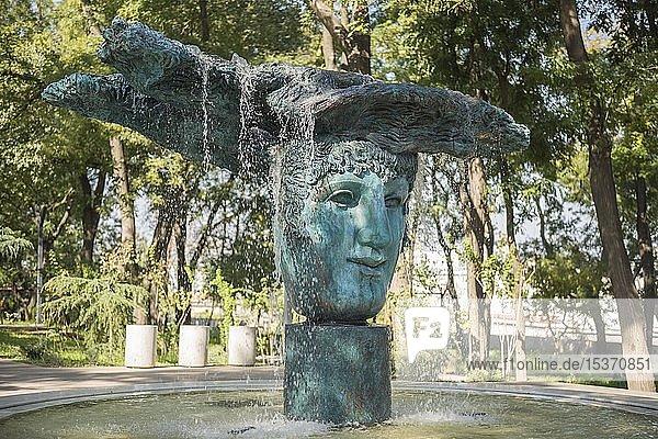 Brunnen Theatermaske im Griechischen Park  Primorsky Boulevard  Odessa  Ukraine  Europa