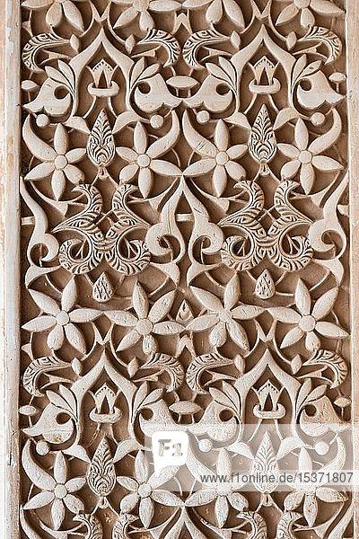 Maurische Gipsverzierungen  Nasridenpaläste  Alhambra  Granada  Andalusien  Spanien  Europa