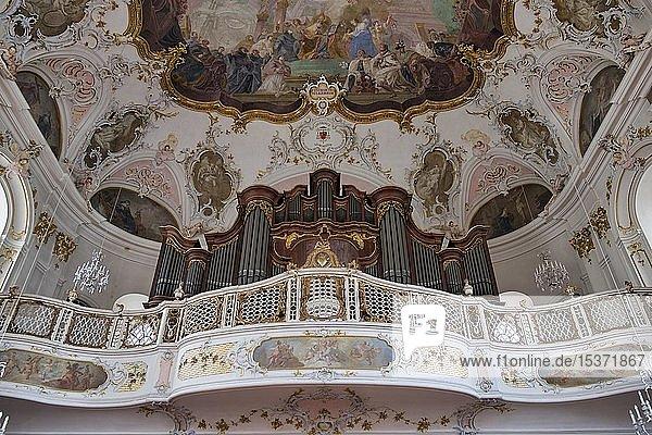 Orgelempore mit Orgel von Johann Philipp Stumm  Augustinerkirche  Seminarkirche der Diözese Mainz  Mainz  Rheinland-Pfalz  Deutschland  Europa