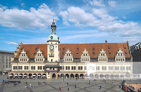 Altes Rathaus mit Stadtgeschichtliches Museum  Markt  Leipzig  Sachsen  Deutschland  Europa