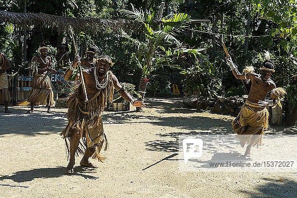 Männer bei traditioneller Kriegszeremonie  Kulturdorf Ekasup  Efate  Vanuatu  Ozeanien