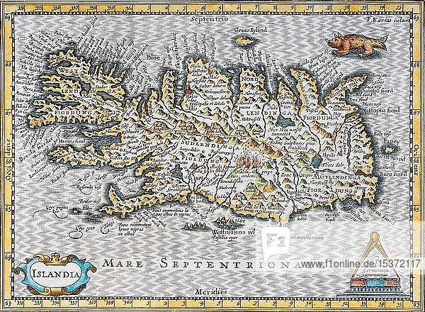 Island  handkolorierter Kupferstich von Johannes Cloppenburg  1632  Island  Europa