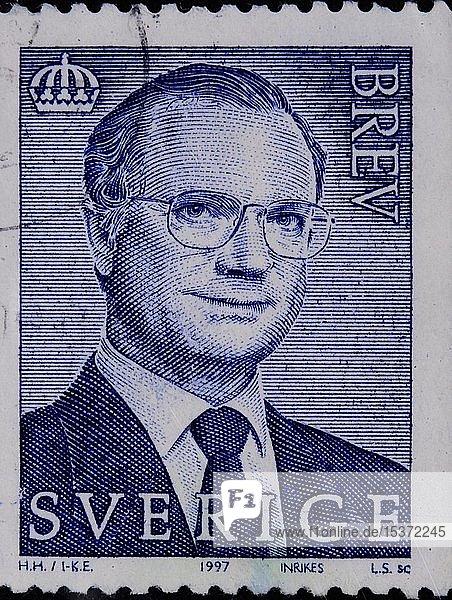 König Carl XVI Gustaf  König von Schweden  Porträt auf einer schwedischen Briefmarke  Schweden  Europa