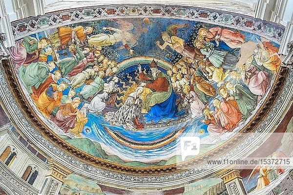 Krönung Marias  Fresko in der Apsis von Filippo Lippi  1469  Dom Santa Maria Assunta  Spoleto  Provinz Perugia  Umbrien  Italien  Europa
