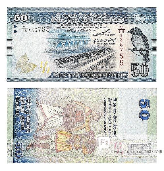 Banknoten 50 Sri Lankische Rupien  Vorder- und Rückseite  Sri Lanka  Asien