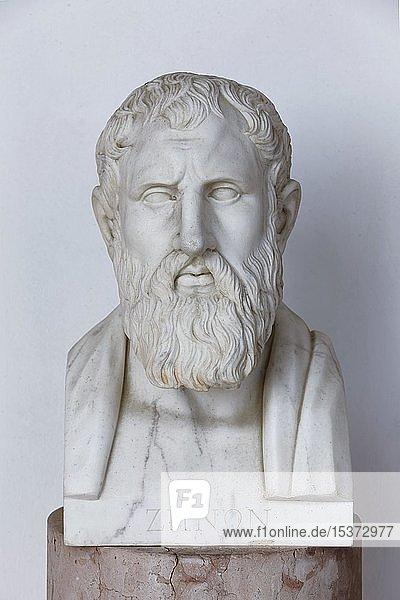 Büste des griechischen Philosophen Zenon von Kition  Achilleion Palast  Gastouri  Insel Korfu  Ionische Inseln  Griechenland  Europa