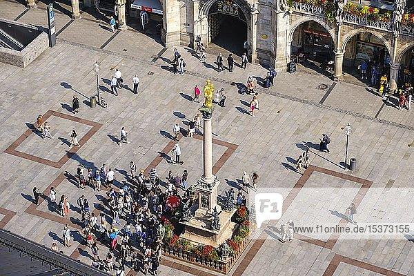 Blick von oben auf Mariensäule und Marienplatz  München  Oberbayern  Bayern  Deutschland  Europa