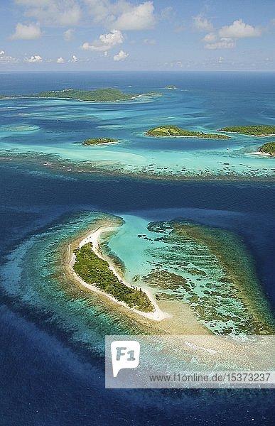 Luftaufnahme von den Tobago Cays  Insel St. Vincent  St. Vincent und die Grenadinen  Mittelamerika