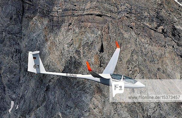 Segelflugzeug vom Typ ASH25 vor Felswand im Gebirge  Haute Alpes  Frankreich  Europa