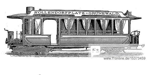 Historische Straßenbahn in Berlin  Rowanwagen  Dampfmaschine nach dem Ebereschensystem  1880  historischer Holzschnitt  England